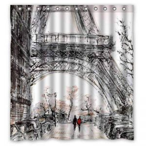 "Desing shop Lawrence Ecofriendly Abstract Watercolor Vintage Paris Eiffel Tower Art Shower Curtain with Rings Waterproof Bathroom Curtain 60"" x 72"" de la marque Desing shop image 0 produit"