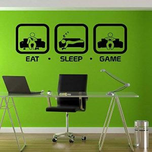 Eat Sleep Jeu Gaming Sticker mural Geek gigaflops Joystick Jeu Sticker mural en vinyle Stickers muraux Decor Gamer PS4 Xbox tr212 de la marque stickalz image 0 produit