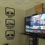 Eat Sleep Jeu Gaming Sticker mural Geek gigaflops Joystick Jeu Sticker mural en vinyle Stickers muraux Decor Gamer PS4 Xbox tr212 de la marque stickalz image 1 produit