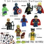 Kid's Corner Productions® 9 Superheroes Minifigures Set | Superheroes of Marvel and DC Comics with Tools, Helmet and Stand | Batman, Thor, Hulk, Captain America and many more (9 pieces) de la marque Kids Corner Productions® image 2 produit