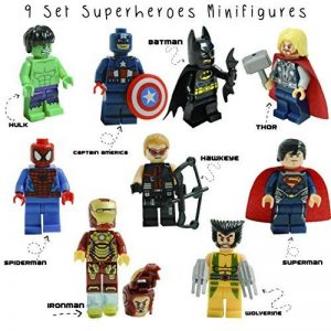 Kids Corner Productions® - Super Heroes Lego Figures 9 Set Mini Figures Marvel aKids Corner Productions® et DC Comics - Party Bag avec Batman, Spiderman, IronMan, Thor, DeadPool, Wolverine, Captian America, Hawkeye et The Hulk - Compatible avec Lego de la image 0 produit