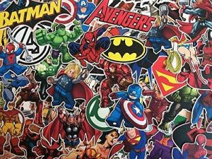 Lot de de stickers autocollants super héros, marvel, DC comics, X-men, Batman, spiderman, superman, avengers de la marque SBS image 0 produit