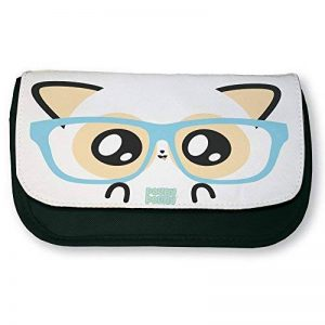 Trousse noire de maquillage ou d'école Pouny Pouny face de geek et lunette de nerd chibi et kawaii - Fabriqué en France - Licence officielle Pouny Pouny - Chamalow shop de la marque Chamalow Shop image 0 produit