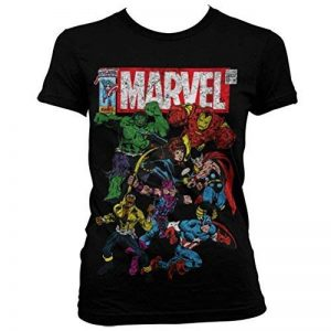 Womens Officiel Marvel Comics Team-Up Distressed Noir Aménagée Slim Fit T-Shirt de la marque Marvel Comics image 0 produit